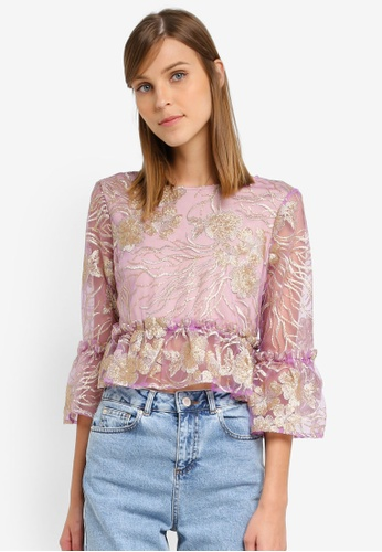 Miss Selfridge purple Lilac Mesh Top MI665AA0SLEQMY_1