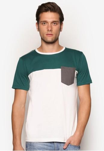 色塊口袋esprit tw短袖上衣, 服飾, 素色T恤