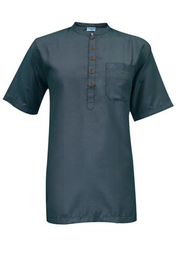 SULTAN grey SULTAN KURTA - GALAXY - COLLAR HALF SLEEVES 3E5DDAAC0F5C82GS_1