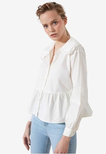 Trendyol white Oversized Collar Flounce Blouse C15D0AAF3A2ECCGS_1