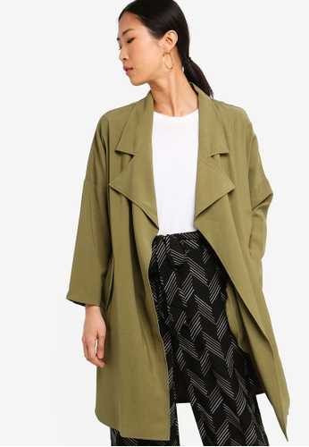 ZALORA BASICS green Basic Waterfall Trench Jacket 46327AA2EF954BGS_1