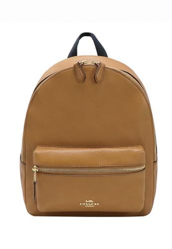 Coach brown Coach Pebble Leather Medium Charlie Backpack - Light Brown 0A0CFAC4F685A2GS_1
