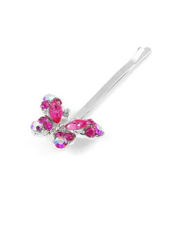 Glamorousky pink Dazzling Butterfly Hair Clip with Pink CZ (1pc) DF78EACF70E407GS_1