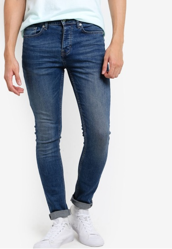 Topman blue Vintage Bleached Blue Stretch Skinny Jeans TO413AA86BUVMY_1