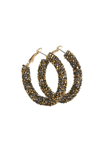 Parfois gold Hoop Earrings With Crystals E5CB6ACF5C3550GS_1