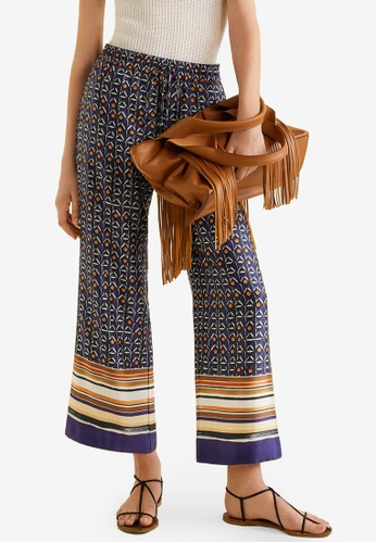 Mango blue Combi Print Trousers 00062AAEC65DC3GS_1
