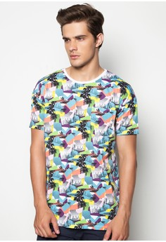 Oversized Crewneck Tee with All Over Print