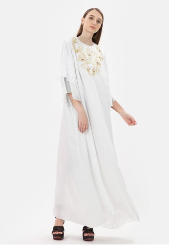 MKY Clothing white MKY Gold Embroidery Lace Sleeve Gamis Dress CA32BAA7CF2DDBGS_1