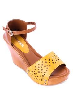 Cutout Detail Wedge Sandals