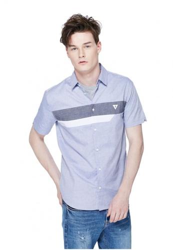 Guess blue Short Sleeves Cotton Shirt GU020AA0GUNWSG_1