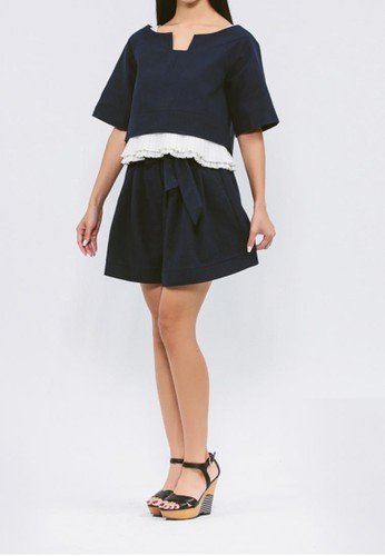 有機棉混紡salon esprit 香港深藍抽皺褲裙, 服飾, 迷你裙