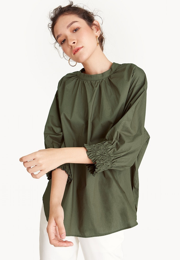 Pomelo Olive Pleated Blouse Neck Green Oversized 1PrqYg1
