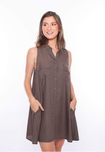 Aanya green and brown Khaki Green Sleeveless Shirt Dress F2F11AA44A92C3GS_1