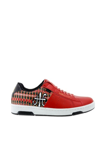 Royal Elastics red and multi Icon Leather Sneakers RO796SH2VTNWHK_1