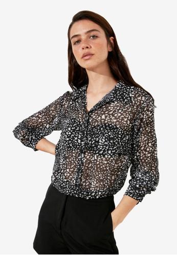Trendyol black Floral Print Shirt 7C229AA2D0E39FGS_1