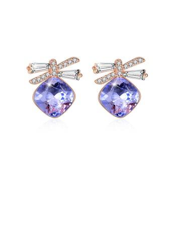 Glamorousky purple 925 Sterling Silve Sparkling Elegant Noble Romantic Sweet Fantasy Purple Butterfly Earrings with Austrian Element Crystal 03CB0AC23EDB82GS_1