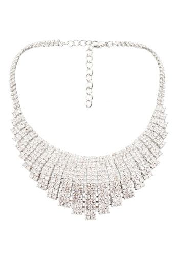Red's Revenge white Diamante Encrusted Bib Necklace RE144AC0RRSMMY_1