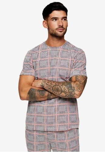 Topman black Orange And Black Check T-Shirt 251E6AABB40EC8GS_1