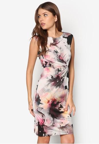花卉zalora 台灣印花扭結洋裝, 服飾, 服飾