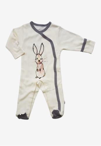 Babysoy grey and white Janey Baby Rabbit Kimono Snap Footie Thunder AA1D9KA6CFC766GS_1