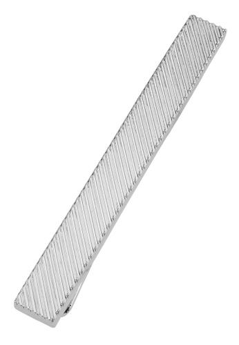 CUFF IT silver 50mm Engraved Diagonal Stripe Tie Clips CU047AC2UQ7THK_1