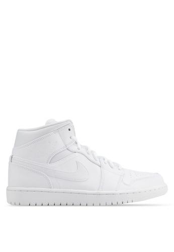 Nike black Men's Air Jordan 1 Mid Shoes NI126SH05AXEMY_1