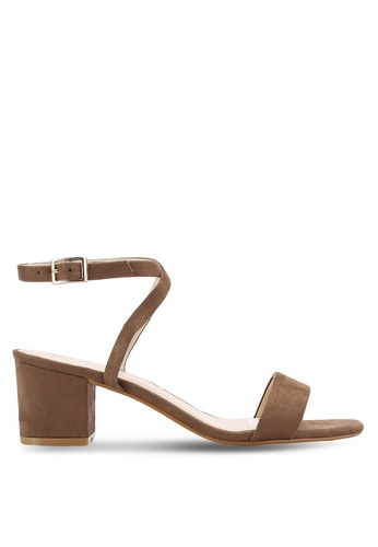 ZALORA brown Faux Suede Ankle Strap Heeled Sandals 4F8DDSH2FC6004GS_1