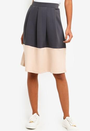 ZALORA BASICS grey Basic Colourblock Hem Skirt 8C65DAAB91C0AAGS_1