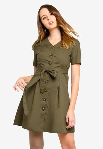 ZALORA green Button Down Short Sleeves Dress 8143AAAE1D756DGS_1