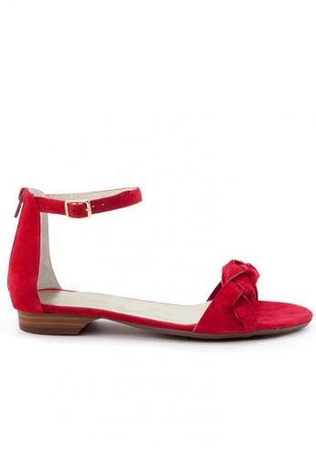 Shu Talk 紅色 性感麂皮低跟涼鞋 SH544SH099T8TW_1