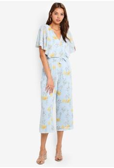 72bba455c81 Dorothy Perkins blue Floral Chiffon Cape Jumpsuit 9BF6EAA442A7EBGS 1