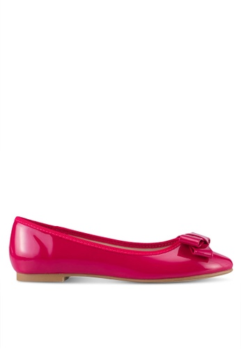 Velvet pink Faux Patent Leather Bow Flats AB58CSH67E13E6GS_1