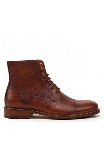 Twenty Eight Shoes 褐色 真皮復古英倫短靴618-50 52E11SH724CE62GS_1