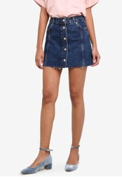 TOPSHOP blue PETITE Button Through Mini Skirt TO412AA0S7UVMY_1