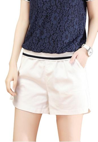 A-IN GIRLS white Elastic Waist Casual Shorts CBA4BAA5F5CBA8GS_1