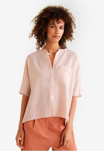 Mango pink Textured Flowy Blouse D80E2AA73650BCGS_1