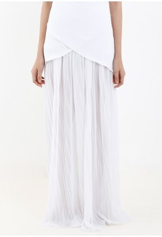 [PRE-ORDER] White Pleated Chiffon Palazzo Pants