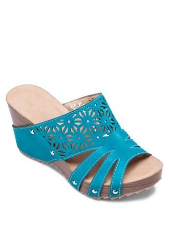 雕花楔zalora 手錶形涼鞋, 女鞋, 楔形鞋