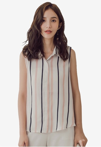 Yoco pink Vertical Stripe Sleeveless Blouse 5DE26AACBD39A0GS_1