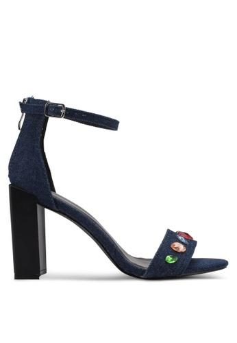 Something Borrowed 藍色 新年系列 繞踝粗跟水晶涼鞋 78E64SH7EE2D17GS_1