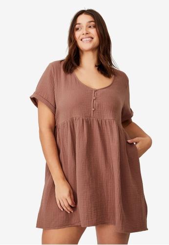 Cotton On brown Curve Bella Mini Dress DCAA0AACDB5A28GS_1