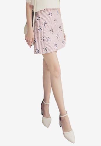 Eyescream pink Pearl Accent Floral Mini Skirt E0644AAE9B82CCGS_1