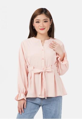MKY Clothing pink Ribbon Long Sleeve Shirt E1083AA56A9EF5GS_1