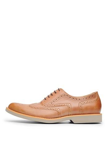 MIT輕量太空底。頭層牛皮esprit 台灣官網牛津鞋-04543-棕色, 鞋, 皮鞋