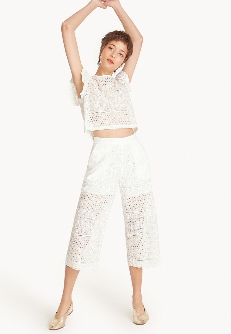 White Eyelet Cropped Pomelo Leg Wide Pants CqwnAFB