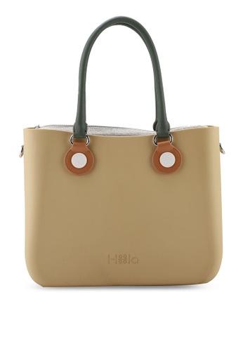 Hoola Hoola brown Alma Tote Classic - Hazelnut with Olive & Caramel handles EFE57ACBA7D992GS_1
