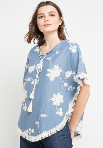 Chic Simple blue and multi Emb Poncho With Fringe Detail 9C3E2AA4FB87C9GS_1