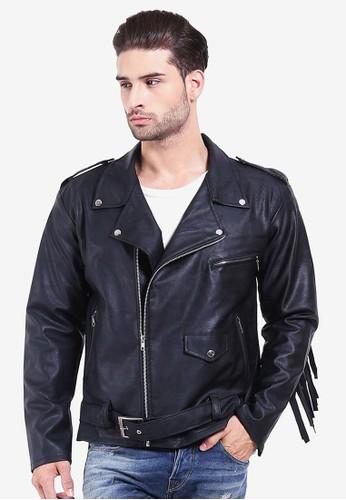 Crows Denim black Crows Denim - Jaket Kulit Fringe Leather - Hitam  CR199AA0UK3NID 1 6562457bf2