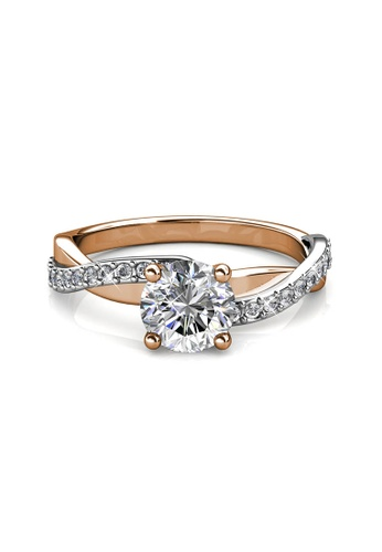 Her Jewellery silver and gold Eleanor Ring - Made with premium grade crystals from Austria C38A2ACD062A50GS_1