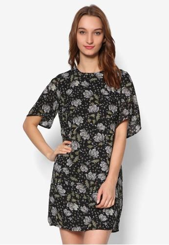 印花短袖連身裙, 服飾,esprit門市地址 洋裝